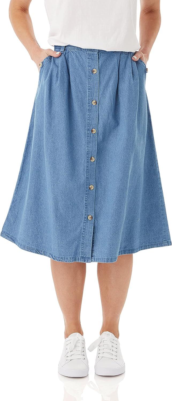 AmeriMark Women's Denim Button-Front Skirt – Cotton Midi Skirt w/Elastic Waist