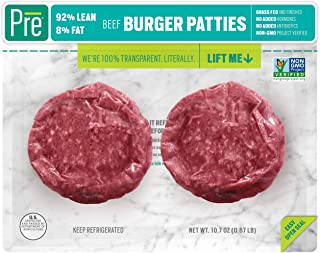 Pre, 92% Lean Burger Patties – Grass-Fed, Grass-Finished, and Pasture-Raised Beef – 10.66oz.  (2 pack)