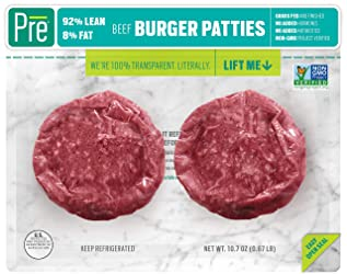 Pre, 92% Lean Burger Patties – Grass-Fed, Grass-Finished, and Pasture-Raised Beef – 10.66oz.  (2 pac
