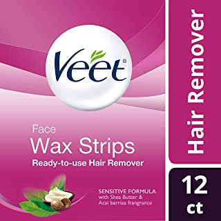 Veet, Ready-To- Use, Facial Hair Remover Strips - Sensitive Formula with Shea and Acai Berries, 12 ct