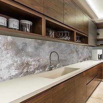 Küchenrückwand Design Spritzschutz 60x300cm Abstrakt grau Wanddeko mit UV-DRUCK