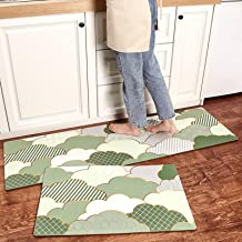 Nordic Strip Kitchen Floor Rugs, PVC Leather Household Floor Mats, Washable Waterproof Non-Slip Mat Carpets,Green,45x75cm