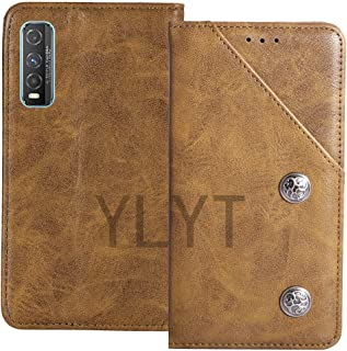 YLYT Business Shockproof - Brown Flip Leather Retro Cover With Stand Wallet Case For Vivo Y70t 6.53 inch With Card Slots