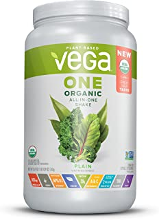 Vega One Organic All-in-One Shake Plain Unsweetened (20 Servings) - Plant Based Vegan Protein Powder, Non Dairy, Gluten Free, Stevia Free, Non GMO, 26.9 Ounce (Pack of 1)