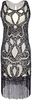 Vijiv Long Prom 1920s Gatsby Beaded Sequin Art Nouveau Deco Fringe Flapper Dress