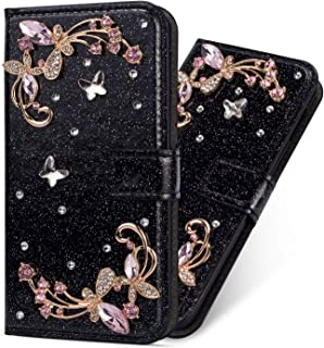 Miagon Diamantfodral för Huawei P Smart 2021, glitter strass blomma PU-läder folio flip plånbok fodral magnetisk stängning...