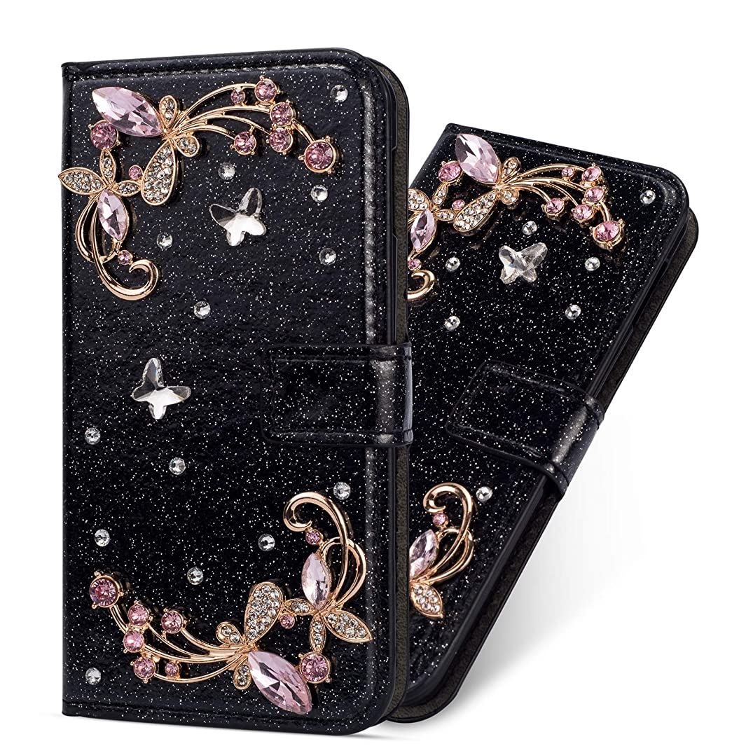 Miagon Diamond Case for iPhone 6S / 6,Luxury Glitter Rhinestone Flower PU Leather Folio Flip Wallet Cover Magnetic Closure Card Slots for iPhone 6S / 6,Black