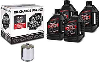 Maxima Racing Oils Maxima 90-119014C Quick Twin Cam Synthetic 20W-50 Chrome Filter Engine Oil Change Kit, 128. Fluid_Ounces
