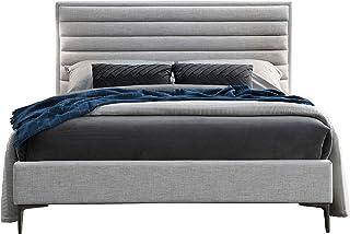 Meubletmoi Lit 140x190 Tissu Gris, tête de lit rembourrée - Design Contemporain - Palazzo