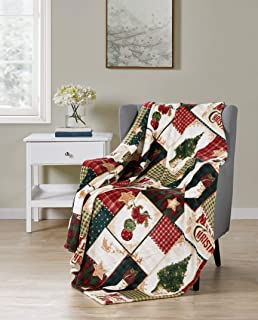 GoodGram Ultra Plush Christmas & Halloween Themed Fleece Throw Blankets - Assorted Styles (Farmhouse Plaid Merry Christmas)