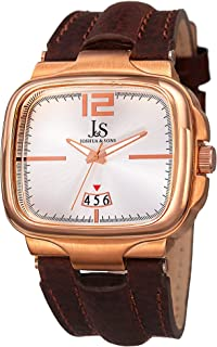 Joshua & Sons Men's Square Bezel Case Swiss Quartz Watch, Genuine LEather Leather Strap (Model: JX117)