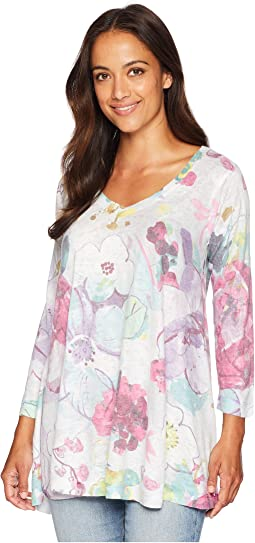 3/4 Sleeve V-Neck Violet Floral Tunic