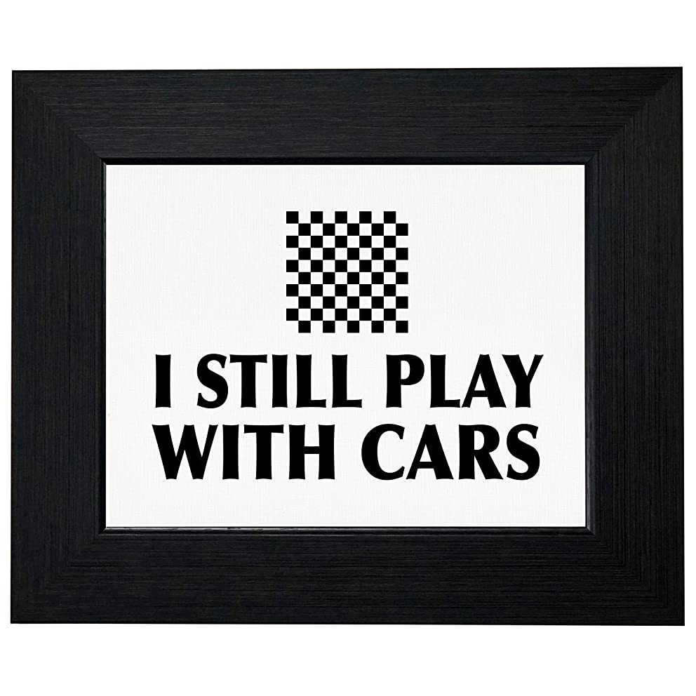 Racing Checkered Flag - I Still Play wth Cars - Vintage Framed Print Poster Wall or Desk Mount Options