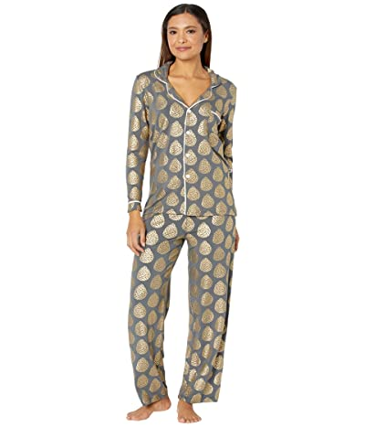 Kickee Pants Collared Pajama Set (Pewter Pinecones) Women
