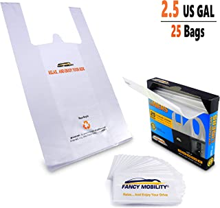 Fancy Mobility 2.5 Gallon Small Car Trash Can Liners - 25 Strong Plastic Bags for Car Garbage - Car Accessories Small Waste Basket Trash Bin Liners - Great for Office, Bathroom, Bedroom (1 Pack)