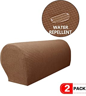 NC HOME Anti-Slip Waterproof Stretch Fabric Armrest Covers Furniture Protector Armchair Slipcovers for Recliner Sofa Set of 2 (Coffee)