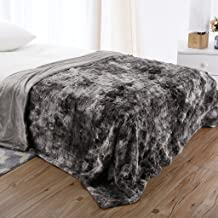 LANGRIA Luxury Super Soft Faux Fur Fleece Throw Blanket Cozy Warm Breathable Lightweight and Machine Washable Dyed Fabric for Winter – Decorative Furry Throw for Couch Bed (60x80, Twin Size Grey)
