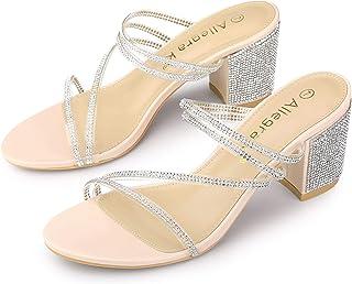 Allegra K Women's Strappy Rhinestone Block Heel Slide Sandals