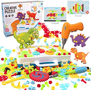 WISESTAR 303PCS Electric Drills Puzzle Toy Set for Kids, 3D Design STEM Toy Drilling Set with Board, Screw Driver, Trendy ...