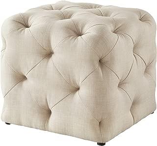 Luxe-Living Inspired Home Linen Ottoman - Beige | Design: Angel | Tufted Allover