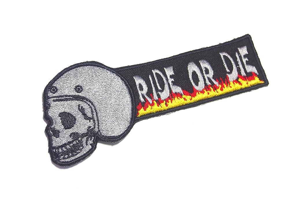 AstroG @ BP14 Punisher Skull Helmet Ride Or Die Biker Motorcycle Embroidered Morale Patch for Hook Backing