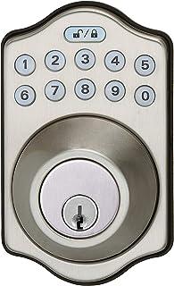 AmazonBasics سنتی صفحه کلید الکترونیکی Deadbolt - ورودی با کلید - ساتن نیکل
