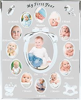 Moldura para fotos do primeiro ano do bebê Tiny Ideas, primeiro ano por mês, registro de bebê recém-nascido, prata
