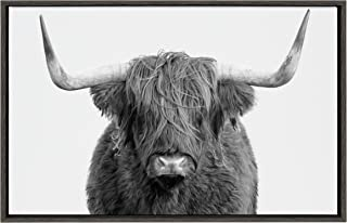 Kate and Laurel Sylvie Highland Cow Framed Canvas Wall Art by Amy Peterson, 23x33 Gray, Rustic Wall Decor for Living Room, Bedroom, Kitchen Or Nursery
