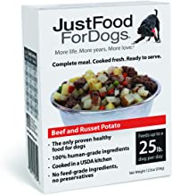 JustFoodForDogs PantryFresh Dog Food, Human Quality Ingredients Ready to Serve Food for Dogs - Beef & Russet Potato (Set o...