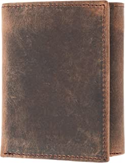 CTM Men's Hunter Leather RFID Trifold Wallet with ID, Brown