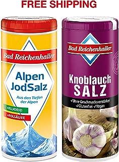 Garlic Salt with Iodine and Folic Acid 90 g + Iodized Table Salt with Fluoride 125 g, Bad Reichenhaller/Germany