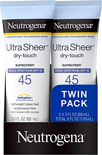 Neutrogena Ultra Sheer Dry-Touch Water Resistant and Non-Greasy Sunscreen Lotion with Broad Spectrum SPF 45, TSA-Comp...