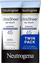 Neutrogena Ultra Sheer Dry-Touch Water Resistant and Non-Greasy Sunscreen Lotion with Broad Spectrum SPF 45, TSA-Compliant...