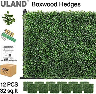 ULAND Artificial Boxwood Hedges Panels, Faux Grass Wall, Shrubs Bushes Backdrop, Garden Privacy Screen Fence Decoration, Pack of 12pcs 20