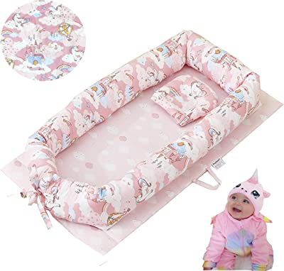 Brandream Baby Nest Bed Unicorn, Pink Newborn Lounger Portable Baby Bassinet Crib for Travel/Bedroom Perfect for Co-Sleeping 100% Cotton Breathable & Hypoallergenic, Cloud& Star Print Shower Gift