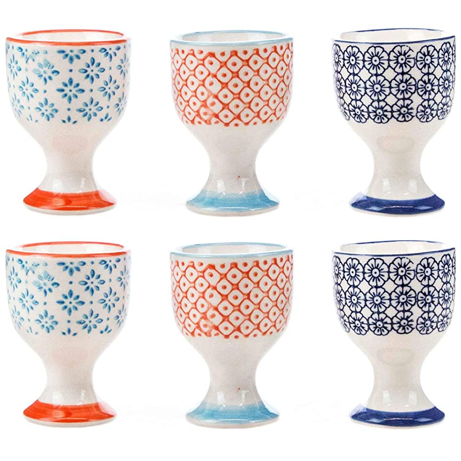Nicola Spring Patterned Egg Cups - Porcelain Breakfast Set Multipack - Pack of 6