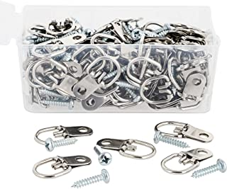 Genie Crafts 100-Pack 1 Inch Metal D Ring Picture Hangers with Screws