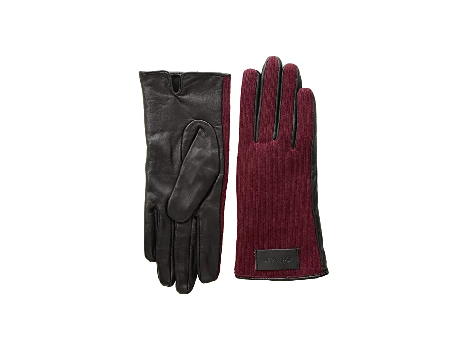 Calvin Klein Knit and Leather Gloves (Dark Cranberry) Extreme Cold Weather Gloves