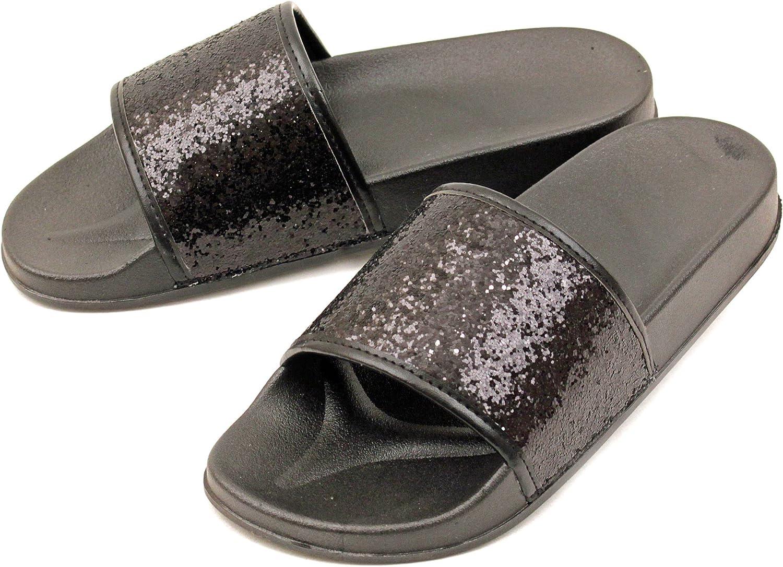 Luckers Women's Dazzling Glitter Slide Sandals