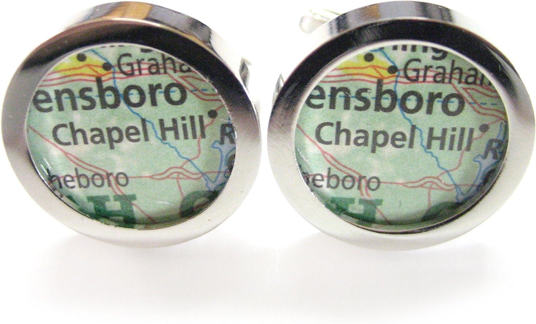 Kiola Designs Chapel Hill North Carolina Map Cufflinks
