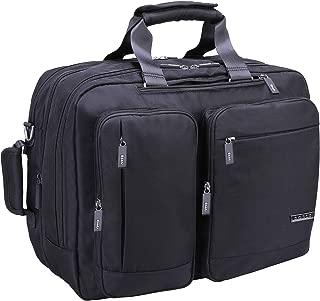 Ronts Black Convertible Briefcase Backpack for Men Business Multifunction Messenger Bag 17.3 Inch Laptop Bag Waterproof Nylon Travel Bag Shoulder Daypack