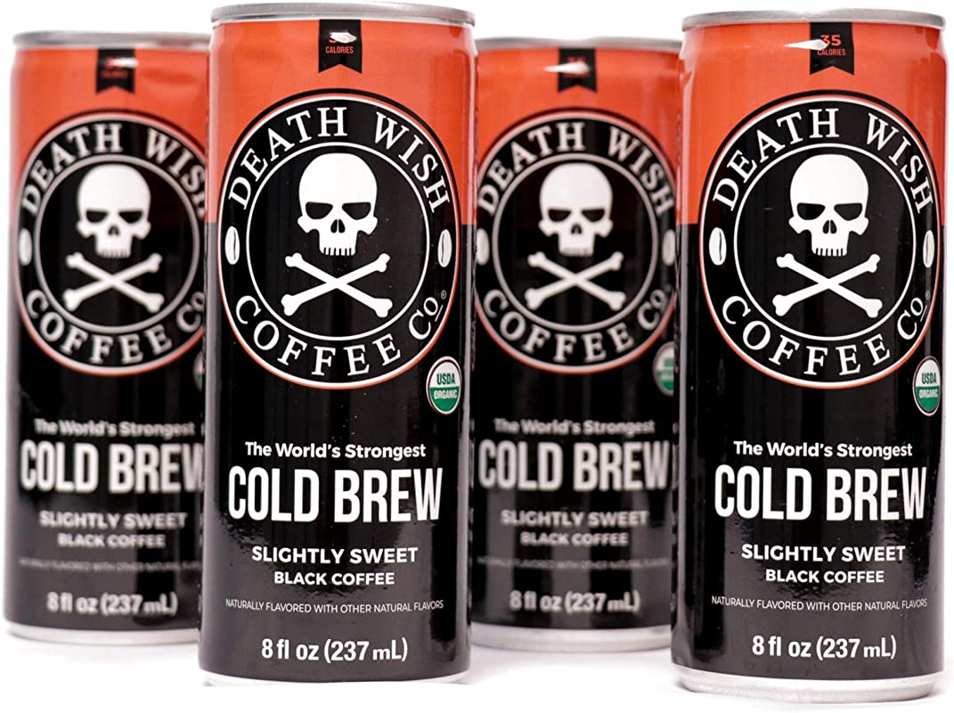 Death Wish Coffee Cold Brew Cans The World S Strongest Coffee Organic Iced Coffee Drink 8 Ounces 300 Mg Of Caffeine 4 Pack Slightly Sweetened Black
