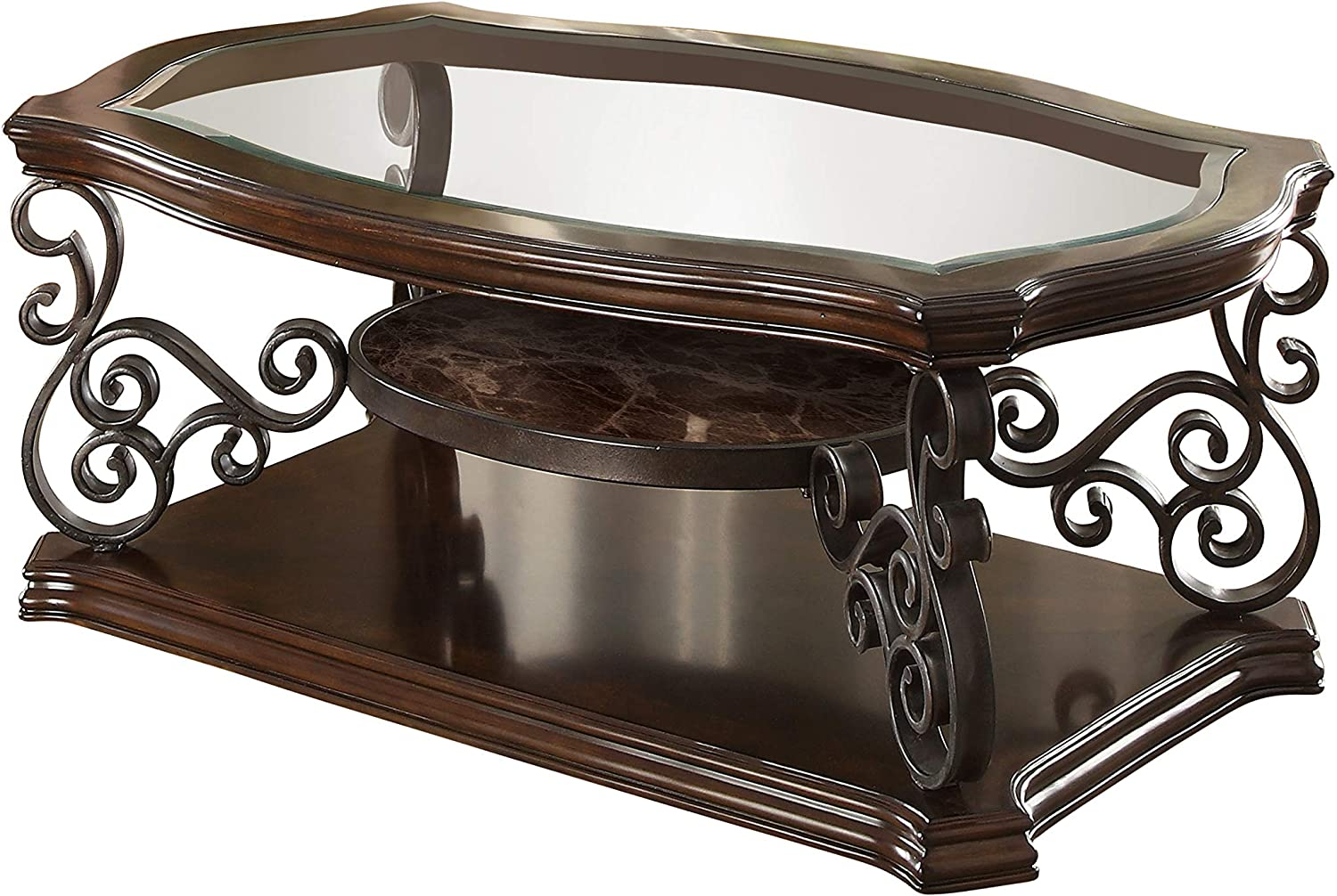Coaster Home Furnishings Coffee Table with Tempered Glass Top Deep Merlot