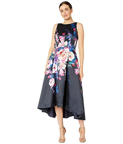 Tahari by ASL Sleeveless Printed Floral Mikado High-Low Hemline (Cascade Floral Black) Women