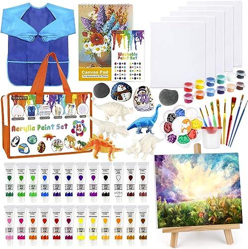 Kids Paint Set 55pcs Acrylic Paint Set with Rock Painting Set & Dinosaur Painting Kit for Kids Crafts & Kids Arts Set, Include 24 Washable Paints Tabletop Easel Art Smock Paint Brushes Painting Canvas