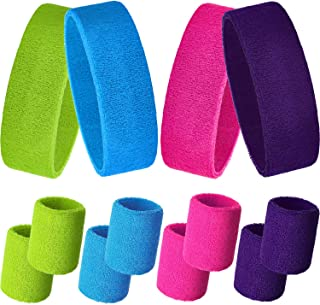 Sweatbands Set, Includes Sports Headband and Wristbands Sweatbands Colorful Cotton Sweatband Set for Men and Women