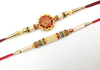 Rakhi for Brother, Bracelet 2 Beautiful Rakhi with Om design, Multicolor Diamond & Golden Pearl Raksha Bandhan Gift Bracel...