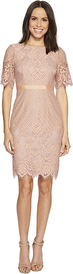 Georgia Scalloped Lace Sheath Dress with Rounded Neckline, Pegged Skirt, and Elbow Length Bell Sleeves, Partially Lined
