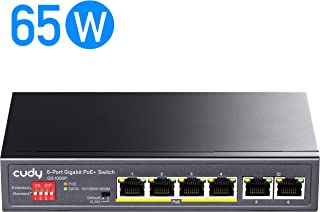 Cudy GS1006P 6-Port Gigabit Ethernet PoE+ Unmanaged Plug and Play Switch, 65 W, 4 10/100/1000 Mbps PoE+ Ports, CCTV and VLAN Mode, 328 feet Long Distance on CCTV Mode, 802.3af, 802.3at