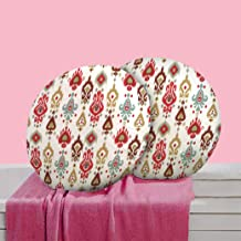 RADANYA Abstract Digitally Printed Round Cushion Cover Pillow Case Home Décor Set of 2,16 Inches,Off White